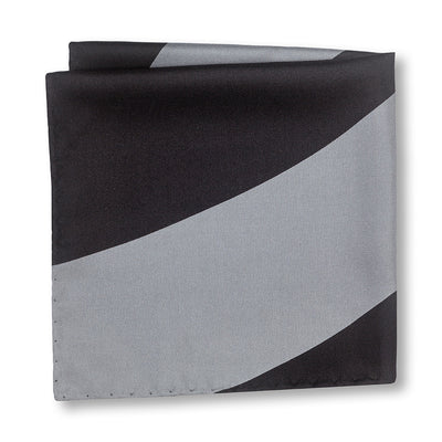 Black and Gray Swoop Pocket Square Folded