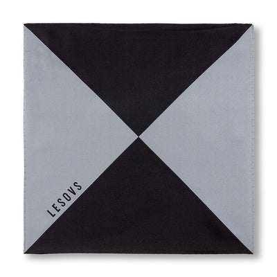 Black and Gray Triangles Pocket Square Unfolded