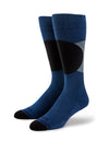 Black and Gray Circles and Blue Socks