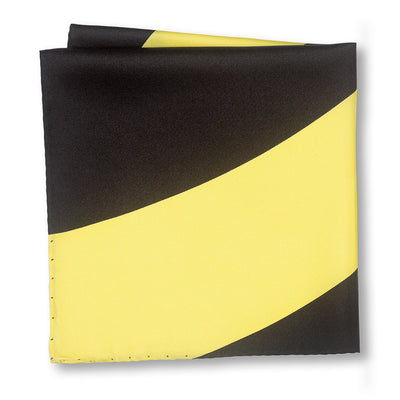 Black and Yellow Swoop Pocket Square Folded