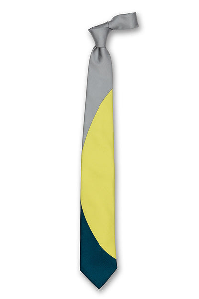 Gray Acid Yellow & Blue Eclipse Silk Tie Front