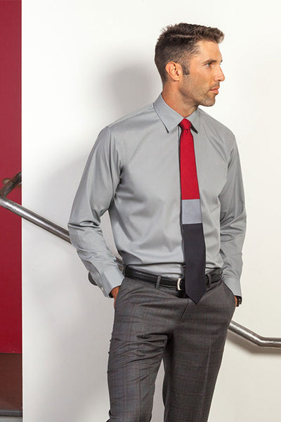 Lesovs-Gray-Block-Silk-Tie-and-man-in-stairway