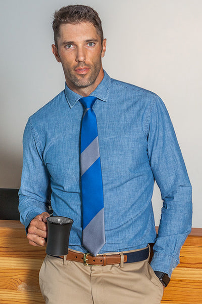 Lesvos Blue and Gray Stripe Silk Tie with man holding mug