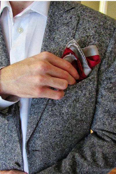 Lesovs Red and Gray Edges Designer Silk Pocket Square