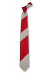 Red & Gray Striped Silk Tie Front