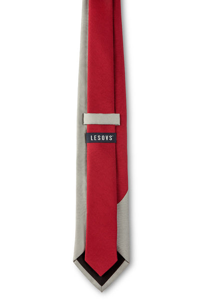 Red & Gray Swoop Silk Tie Back