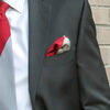 Red and Gray Triangles Pocket Square in Suit Pocket
