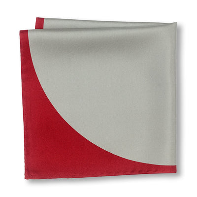 Red and Gray Sphere Pocket Square Folded