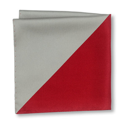 Red and Gray Triangles Pocket Square Folded