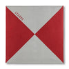 Red and Gray Triangles Pocket Square Unfolded
