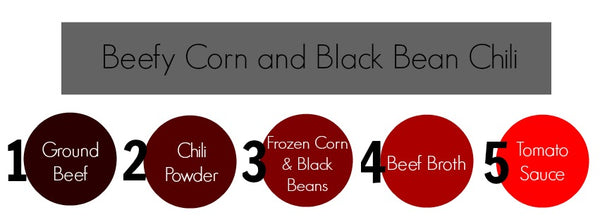beefy corn, black bean, chili
