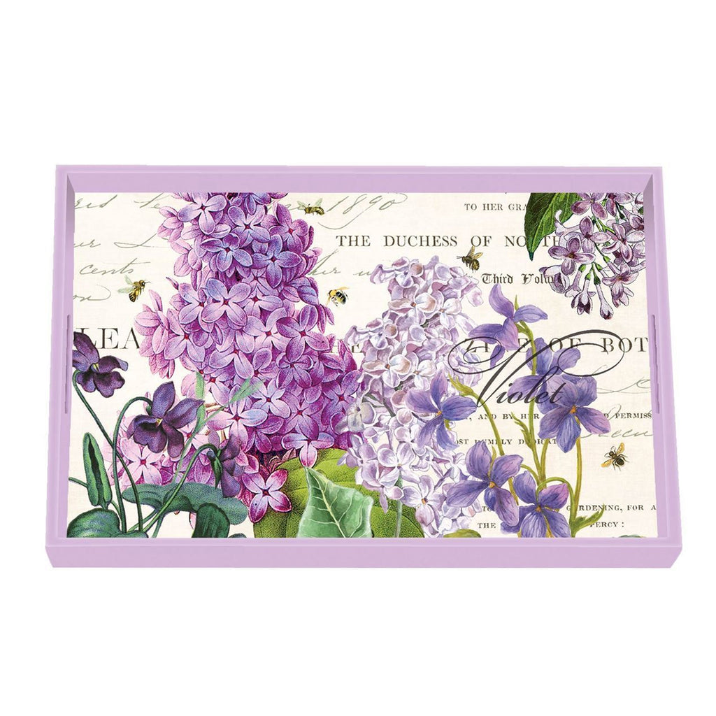 Michel Design Works Wooden Vanity Tray, Lilac & Violets