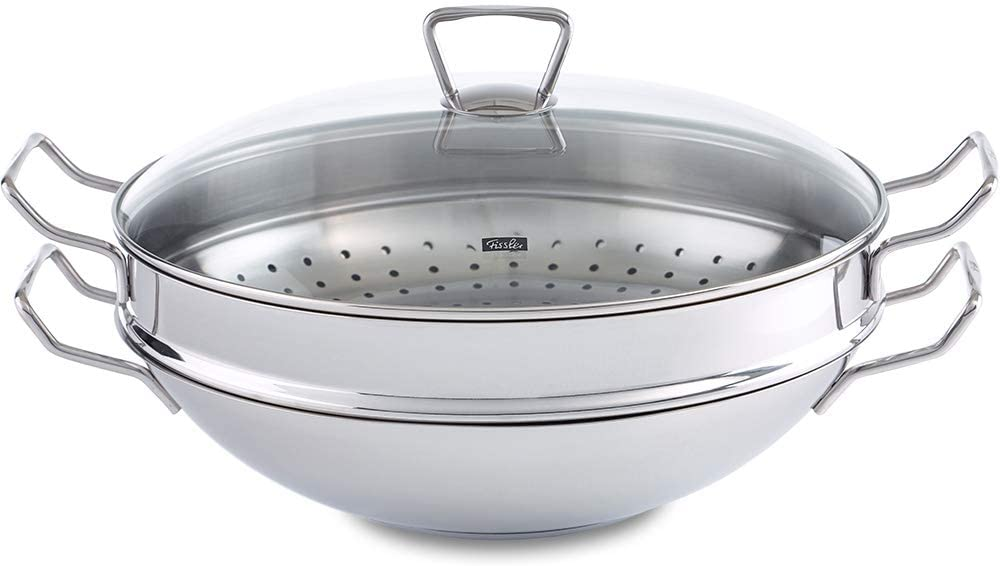 Fissler Nanjing Wok with Glass Lid and Steamer Inset 35cm