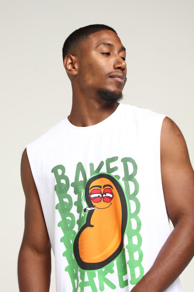 BAKED BEAN MUSCLE TEE - White