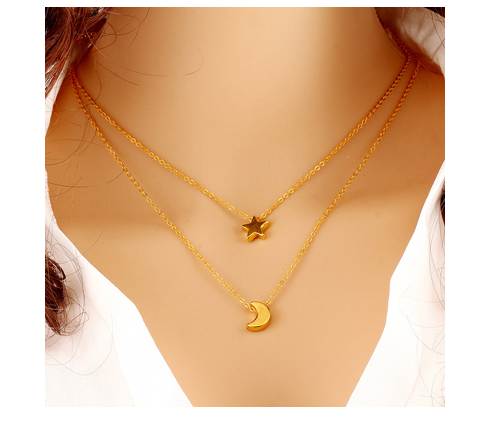 Gold Plated Moon Star Pendant Necklace