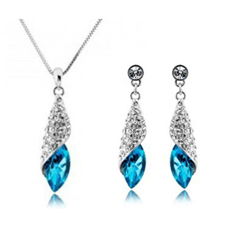 Silver Plated Crystal Tear Water Drop Jewelry Set