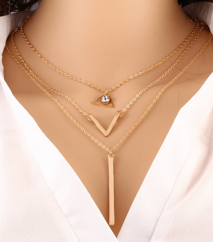 Gold Plated Crystal Bar V Charm Pendant Necklace