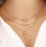 Cross Charm Beaded Gold Plated Infinity Necklace