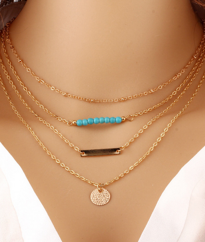 Gold Plated Bar Coin Turquoise Beads Necklace