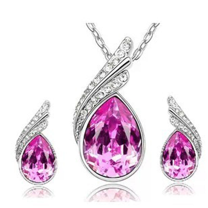 Crystal Water Drop Necklace Stud Earrings Jewelry Set