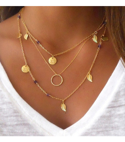 Gold Plated Coin Leaf Circle Pendant Necklace