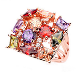 LUXURY ROSE GOLD PLATED COLORFUL CRYSTAL RING