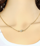 Gold Plated Hamsa Hand Pendant Necklace