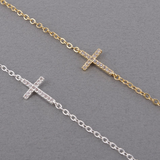 Gold Silver CZ Crystals Cross Bracelet For Women