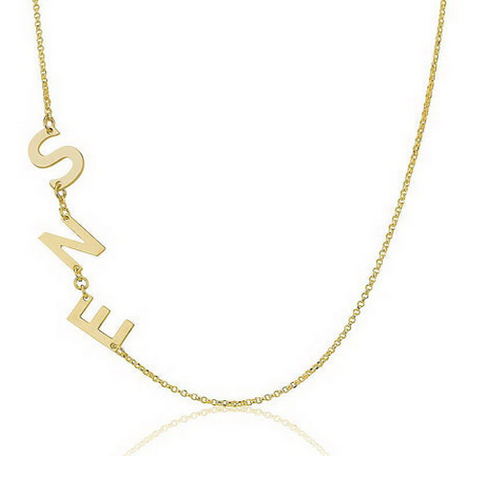 Gold Plated Custom Three Initials Sideways Necklace