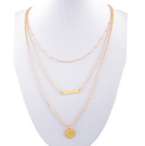 Gold Plated Bar Coin Pendant Necklace
