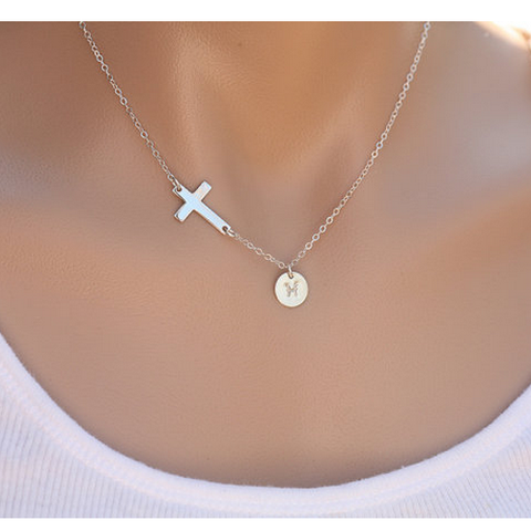 Gold Plated Sideways Cross Disc Initial Necklace