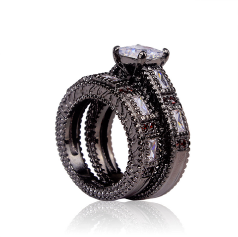 Black Gold Luxury White Red Zirconia Ring Set