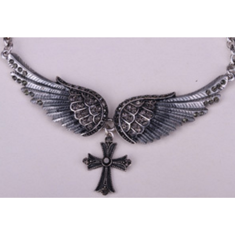 Silver Angel Wings Cross Women Bikers Crystal Necklace