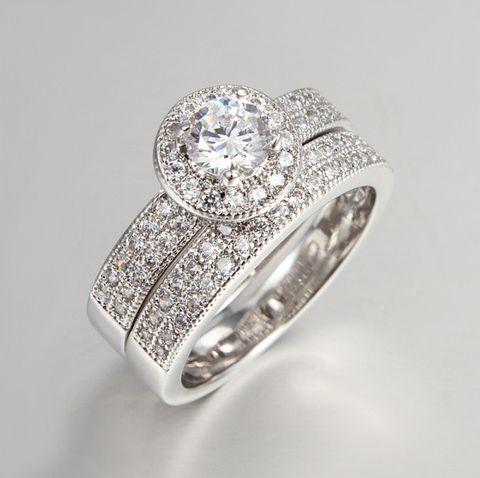 10k White Gold Plated CZ Diamond Elegant Party Vintage Ring Set