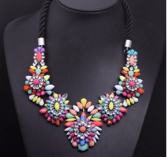 SHO*RK rainbow colored crystal flower design Necklace
