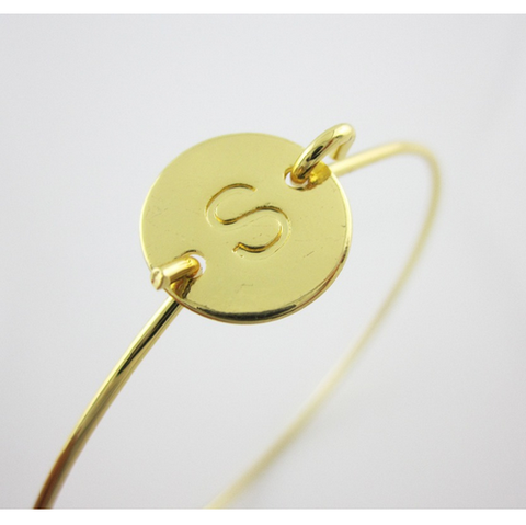 Gold Plated Initial Monogram Bangle Bracelet