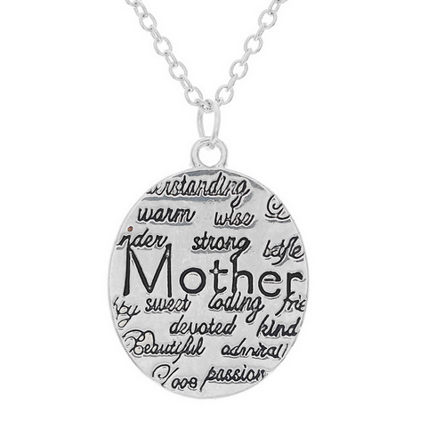 "Silver Mother Pendant Necklace""Engraved Warm Wise Sweet Mom"""