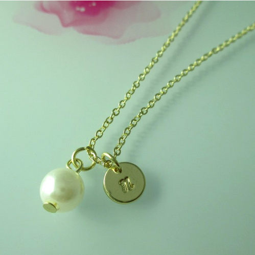 Gold Filled Initial Monogram Disc Pearl Charm Necklace