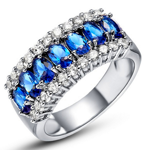 Platinum Plated Cubic Zirconia Crystal Ring