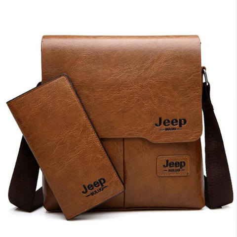Jeep Man Woman messenger bag with iPhone case - 2 Piece men Women soft Pu leather shoulder bag, shoulder bag Casual