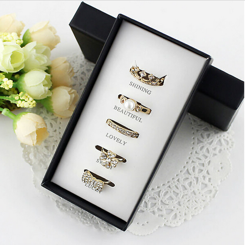 Gold Plated Five Pieces Rings Set