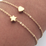Gold Filled Two Personalized Star & Heart Bracelets