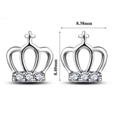 CZ Princess Crown Silver Ear Studs Earrings