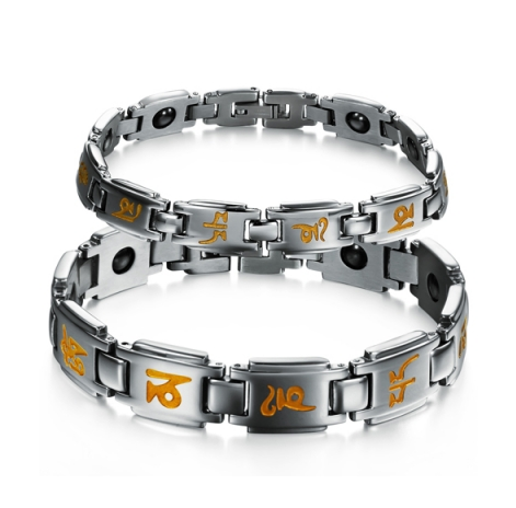 STAINLESS STEEL ORANGE ENGRAVING COUPLE'S BRACELET
