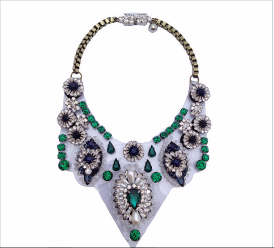 crystal exaggerated Chain bib statement Necklace