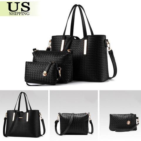3pc Set Women Lady Handbag Shoulder Bags Tote Purse Leather Messenger Hobo Bag Satchel