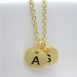 Silver Plated Two Initials Monogram Discs Necklace