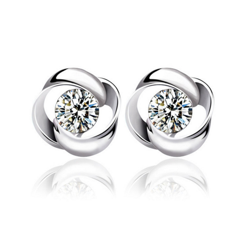 Rotating Love Crystal CZ Silver Ear Studs