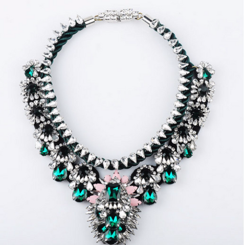 VINTAGE STYLE SHOUROUK CHOKER CRYSTAL BIB NECKLACE