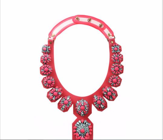 Vintage Style Red glass Mosaic exaggeration Necklace